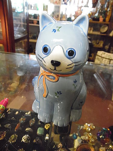 Otagiri lg ceramic cleanser shaker Cat Kitten Calico Blue Vtg 80s