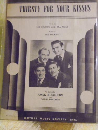 Thirsty for your Kisses vintage sheet music Lee Morris Bill Ficks 1950