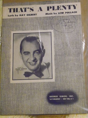That's A Plenty vintage sheet music by Ray Gilbert Lew Pollack