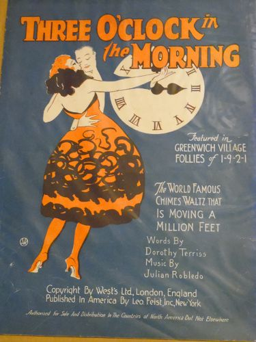 Vintage 1922 sheet music Three O'Clock in the Morning