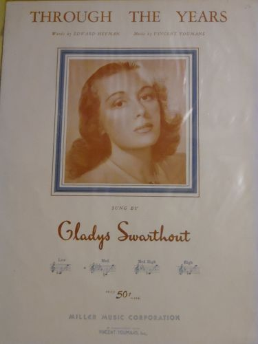 Vintage 1931 sheet music Through The Years sung by Gladys Swarthout