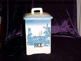 Antique Delft rice cannister Czechoslovakia