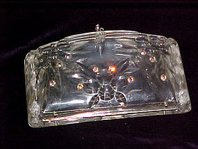 Clear lucite clutch purse w/ rhinestones