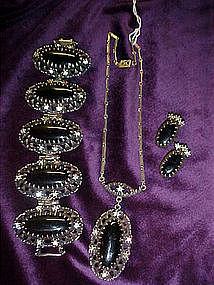 Vintage necklace, earrings, and bracelet set