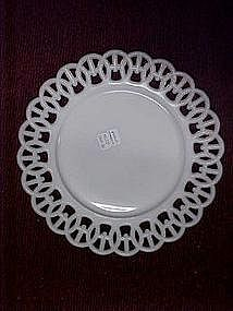 Westmoreland milk glass plates, wicket pattern