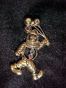 Costume clown and balloons pin, signed JJ