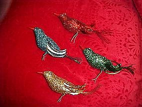 Retro glitter bird Christmas ornaments