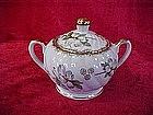 Sugar bowl with handpainted flower blossom decor