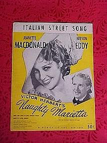 Italian street song, sheet music 1921