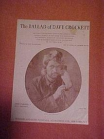 The ballad of Davy Crockett, sheet music 1954
