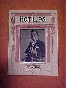 Hot Lips, blues fox trot song, sheet music 1922