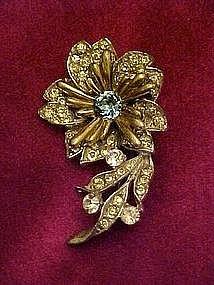 Vintage flower pin with rhinestones