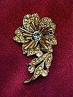 Vintage flower pin with rhinestones