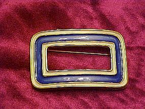 Capri blue enameled goldtone pin