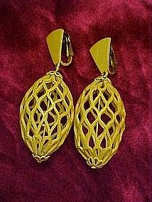 Yellow retro 60s birdcage earrings