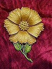 Enameled flower pin, signed Hedy
