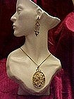 Pendant and Earrings set, Enameled filligree