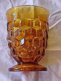 Amber footed glasses American pattern