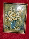 "Old framed print of flowers with parrot ""Remembrance"""