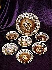 Schumann Dresden, hand painted portraits, 7 pc nut set