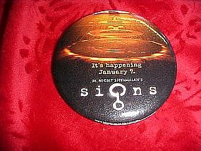 Signs, promotional pin back button for video release