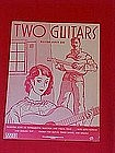 Two guitars, sheet music with Russian & English text