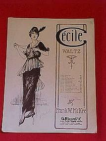 Cecile Waltz, sheet music by Frank W. McKee 1914