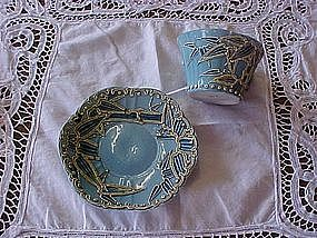 Heavy Moriage Bamboo cup & saucer, very old