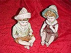 Bisque porcelain  victorian children, pair
