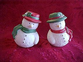 Little bisque snowman salt and pepper shakers