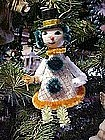 Vintage paper and chennile snowman on skiis ornament