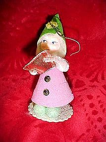 Vintage Santa / elf paper mache and chennile ornament