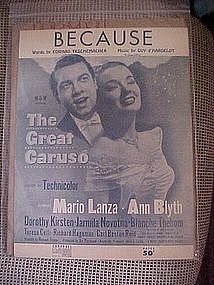 "Because, sheet music from ""The Great Caruso"""