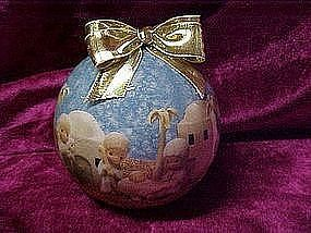 Enesco Precious Moments decopage Christmas ornament 1991