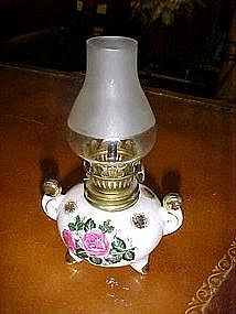 Vintage mini lamp with rose decoration, three legs