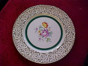 Edwin  M Knowles floral and filigree dinner plate