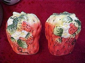 Large strawberry salt and pepper shakers