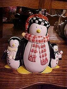 Penguin family cookie jar