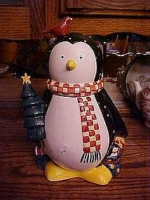Christmas Penguin Cookie jar