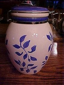 Blue and white cookie cannister with clamp top
