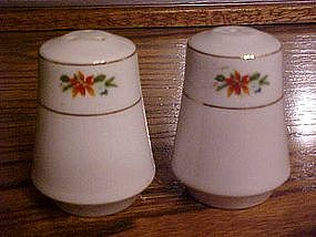 Pointsettia salt and pepper  china shakers