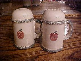 Large sponged apple design salt & pepper shakers