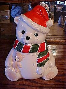 Homco Christmas Bear cookie jar
