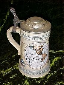 Authentic West Germany beer stein, hemisphere maps