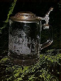 ALWE  Crystal beer stein with  train scene, Germany