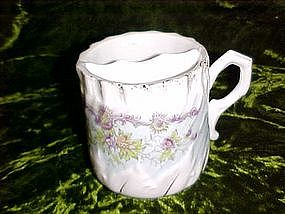 Vintage hand painted moustache mug with florals