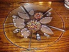 Mikasa (?) crystal and satin floral cake plate