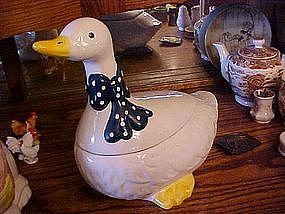 White goose cookie jar, navy polka dot bow