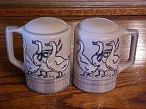 Gaggle of geese, stoneware salt and pepper shakers