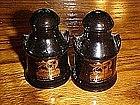 California souvenir shakers, cobalt glazed milk cans